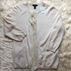 J Crew Collection NWT 100% cashmere cream cardigan